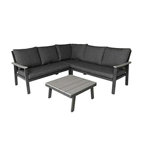Great Deal Furniture Madison Outdoor Aluminum Sofa Sectional with Faux Wood Accents and Cushions, Gray and Dark Gray