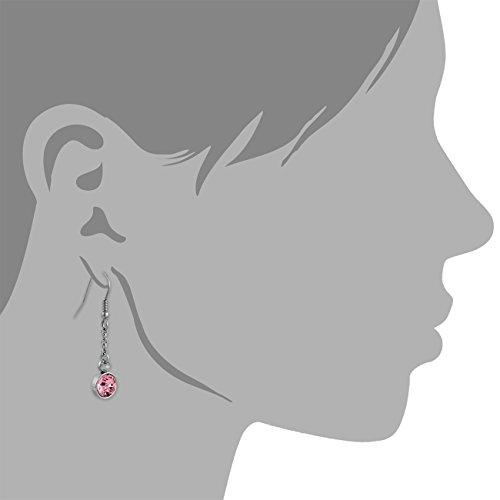 Amello bijoux en acier inoxydable - Amello boucles d'oreilles en acier inoxydable -pendants d'oreilles ronde avec Swarovski Elements rose - ESOS06A