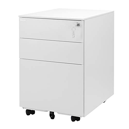 (Bonnlo 3 Drawer Metal Mobile File Cabinet with Lock Rolling Steel Office Cabinet with Drawers, Fully Assembled, Includes 25-Pack Hanging File Folders, White)