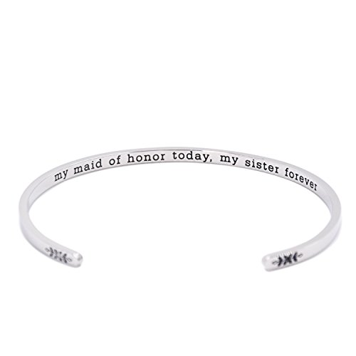 LParkin Maid Jewerly Gift My Maid of Honor Today, My Sister Forever Bracelet (Cuff-02)
