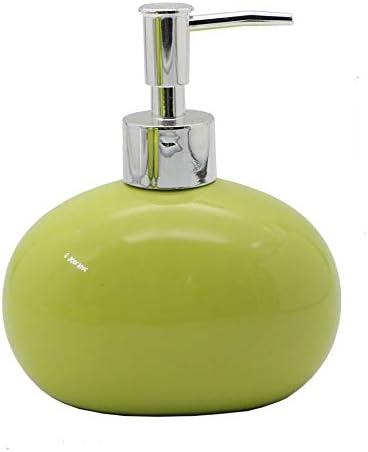 4 Pezzi Portascopino BM 4088 Set di Accessori da Bagno in Ceramica Portasaponetta Dispenser Portaspazzolino Verde