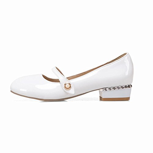 Carolbar Women's Sweet Lovely Mid Heel Patent Leather Court Shoes White Du4GeClj