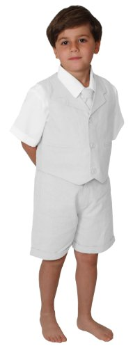 Gino Giovanni G266 Short Set Cotton/Linen Blend Summer Baby/Toddler (5, White) (Linen Suit For Toddlers)