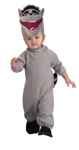 Ring Tailed Lemur Tail Costume (The Penguins of Madagascar Romper Costume, King Julien, Toddler Size)