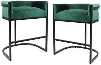 Christopher Knight Home 306283 Best Modern Wide Bucket Velvet Barstool, Emerald and Black Set of 2