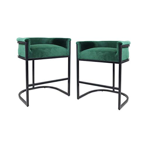 Christopher Knight Home 306283 Best Modern Wide Bucket Velvet Barstool, Emerald and Black (Set of 2), (Emerald Green Stools Bar)