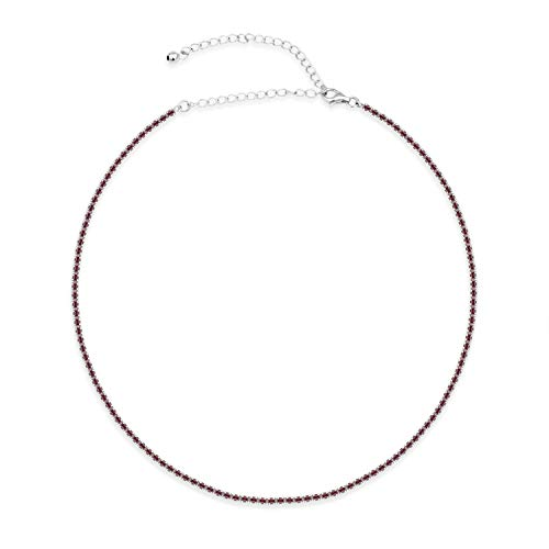 Ruby Colored Glass - Sterling Silver Necklace With Ruby Colored Glass