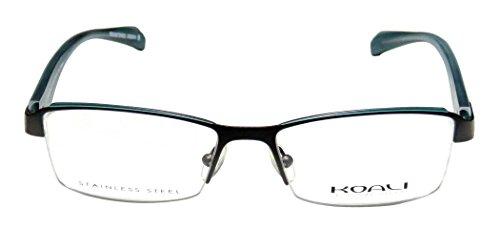 Koali 7252k Womens/Ladies Optical Authentic Designer Half-rim Eyeglasses/Eyeglass Frame (51-16-130, Gray / Light Dirty Teal / White) (Starck Mirror)