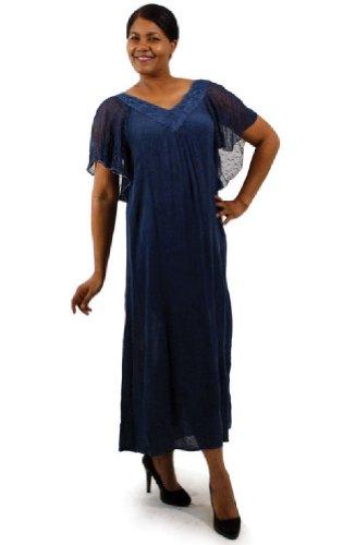 Blue Sheer Tye Dye Look V-Neck Dress