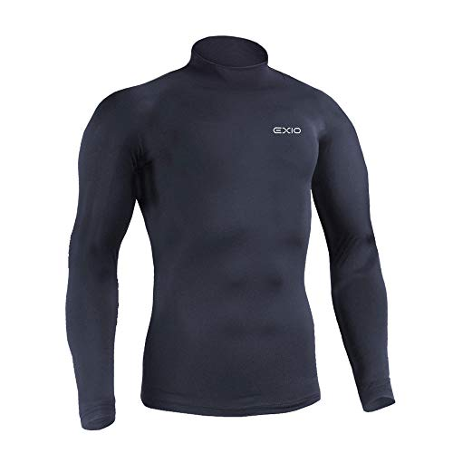 EXIO Men's Thermal Wintergear Compression Long-Sleeve Baselayer Tops (T-22 NV, Large)