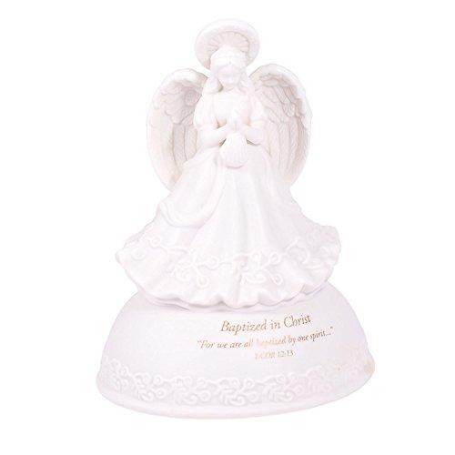 Baptized in Christ White Porcelain Musical Angel Figurine - Plays Tune Children's Prayer