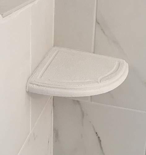 Add-On WHITE Stone Resin Shower Corner Soap Dish/Shampoo Corner Shelf for your existing tile walls. Get those bottles off your shower floor. Custom after tile corner shelves