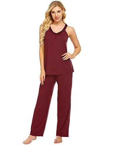(Ekouaer Women's Pajama Sets Long Pants with Short Tops Sleepwear Ladies Sleep Sets Wine Red)