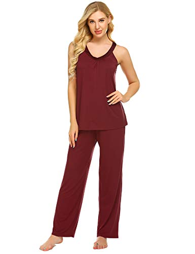 Ekouaer Pajama Sets Women Soft Sleepwear 2PCS Loungwear Pjs Top with Bottoms S-XXL Wine Red