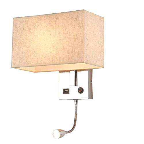 GJX Lámpara De Pared Moderna, Luz De Pared De Cromo Pulido con Carga USB Y Luz De Lectura LED Flexible De 3W, Lámpara De...