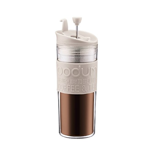 Bodum Double-Wall 16-Ounce Thermal Plastic Travel Coffee and Tea Press with Bonus Tumbler Lid, White by Bodum