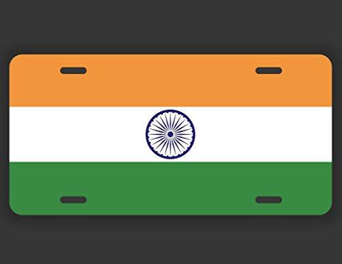 India Flag License Plate Tag Vanity Novelty Metal | UV Printed Metal | 6-Inches By 12-Inches | Car Truck RV Trailer Wall Shop Man Cave | - Shop India Shop