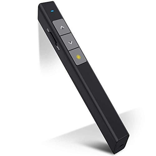 DinoFire Wireless Presenter, RF 2.4GHz PowerPoint Clicker Presentation Presenter Remote Control USB Pointer Slide Advancer