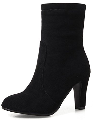 Easemax Women's Sweet Round Toe High Block Heel Side Zipper Faux Suede Ankle High Boots Black nMdTNvltLd