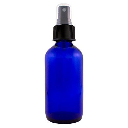 4 fl oz Cobalt Blue Glass Bottle with Black Spray Cap (Single)