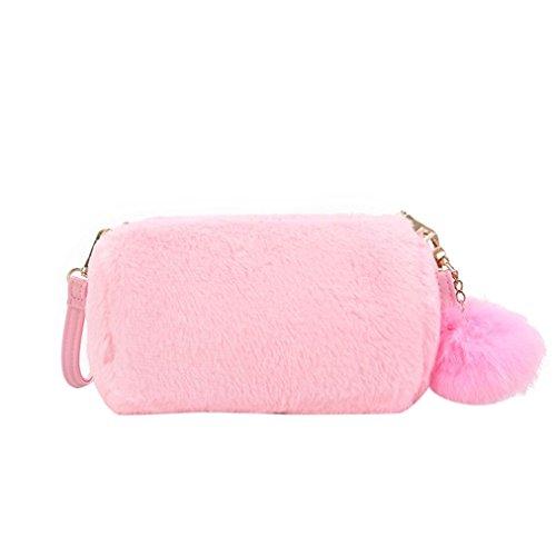 Pretty Pillow Shoulder Colors Bag Handbag Plush Women's Bag Candy Voberry Cute Pink tqzgYwH