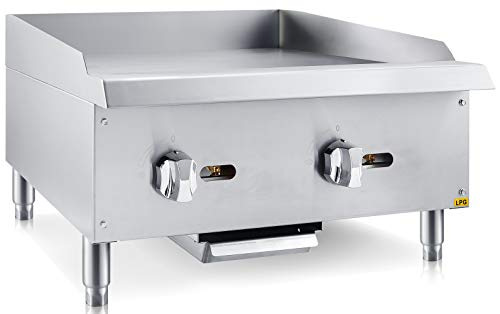 Chef's Exclusive CE784 Commercial Countertop Stainless Steel 24 inch Heavy Duty Manual Griddle Grill Liquid Propane LP Gas, 60,000 BTU per Hour 18KW, Metallic