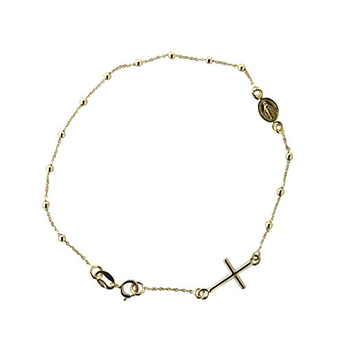 18k Yellow Gold Rosary Bracelet with cross and miraculous medal in line 7 inch by Amalia (Image #2)