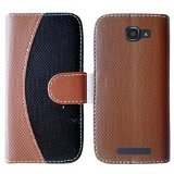 HR Wireless Alcatel One Touch Fierce 2 7040T Two Tone PU Leather Flip Wallet Credit Card Cover Case - Retail Packaging - Brown/Black