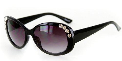 Chloe Designer Inspired Sunglasses with Stylish Crystal Patterned Frames and Medium Lenses for Stylish Women(Black w/ Smoke - Chloe Sunglasses Black