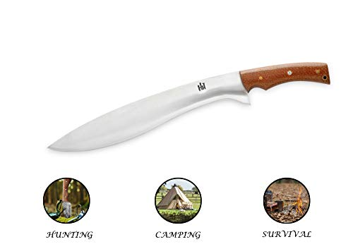 (Hobby Hut HH-601  16 inch Machete Stainless 01 Carbon Steel Knife Full Tang Fixed Blade, Micarta Handle Leather Sheath  Designed for Hunting, Camping)