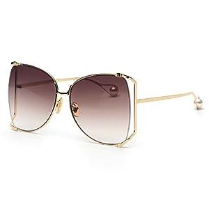 FAGUMA Trendy Oversize Semi Rimless Sunglasses For Women Brand Designer Shades