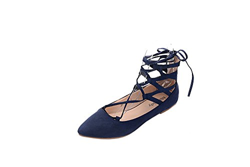 Mila Lady (Jessie Fashion NewAnkle Strappy Lace Up Point Toe Flat Shoes.NAVY7.5
