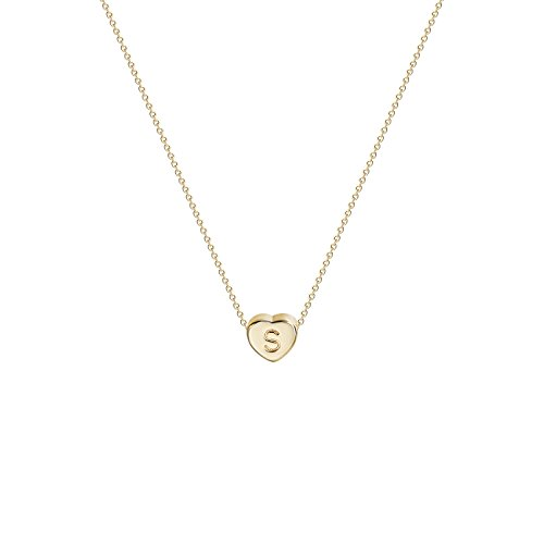(Tiny Gold Initial Heart Necklace-14K Gold Filled Handmade Dainty Personalized Heart Choker Necklace For Women Letter S)