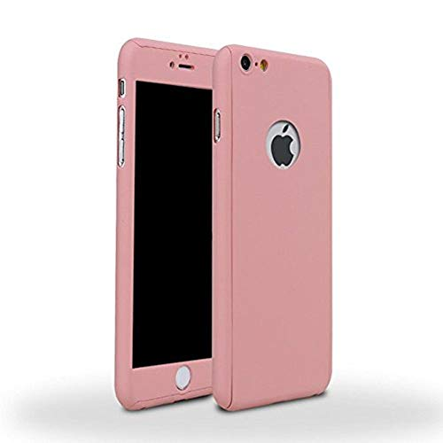 Aulzaju iPhone 6 Plus/6s Plus Full Body Case,iPhone 6 Plus Pink Front Back Case with Tempered Screen Protector for iPhone 6s Plus Sleek Shockproof Cover