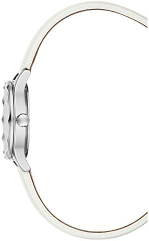 BCBGMAXAZRIA Women's Classic Stainless Steel Japanese-Quartz Watch with Leather Strap, White, 10 (Model: BG50828001)