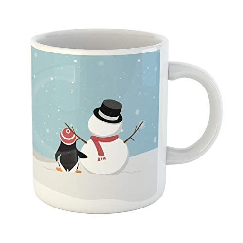 Semtomn Funny Coffee Mug Snowman Penguin Viewing Snowy Cartoon and Out in the Snow 11 Oz Ceramic Coffee Mugs Tea Cup Best Gift Or Souvenir -