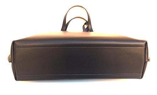 Superflybags Borsa Donna in Vera Pelle Liscia modello Consuelo 2 in 1 Made in Italy Nero