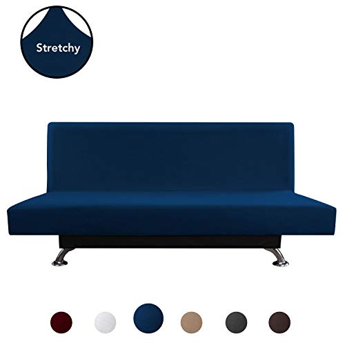 PureFit Super Stretch Armless Chair Sofa Slipcover - Spandex Non Slip Soft Couch Sofa Cover, Washable Furniture Protector with Elastic Bottom for Kids, Pets (Futon, Navy)