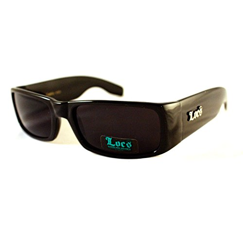 Locs All Black Cholo Biker Extra Narrow Lens Rectangular Thick Arm ()