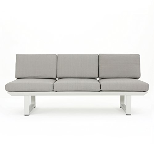 Great Deal Furniture 303974 Bonnie Outdoor White Finish Rust-Proof Aluminum 3 Seater Sofa with Grey Water Resistant Cushions,