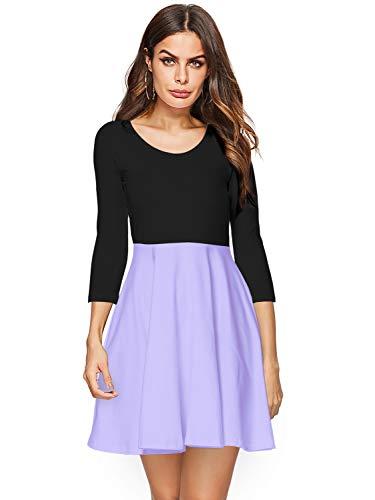 Dress Sleeves Mini Flared - Amoretu Women Summer Short 3/4 Sleeve Casual Flared Midi Skater Dress (Lavender, XXL)