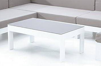 Mesa de centro aluminio blanco Laos 100x60 cm: Amazon.es: Jardín
