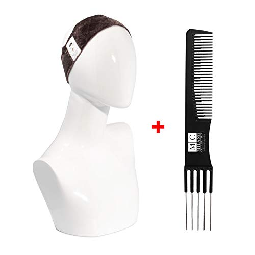 Original Milano WiGrip Comfort Band, Lightweight, Flexible, Tension-Free Wig Grip with Adjustable Closure in Brown Plus FREE Teasing Comb
