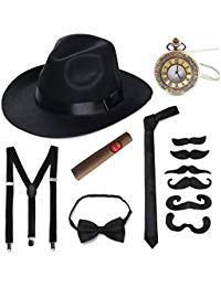 1930s Kids Halloween Costumes (1920s Mens Accessory Set Hard Felt Wide Brim Panama Hat Gangster Theme Party)