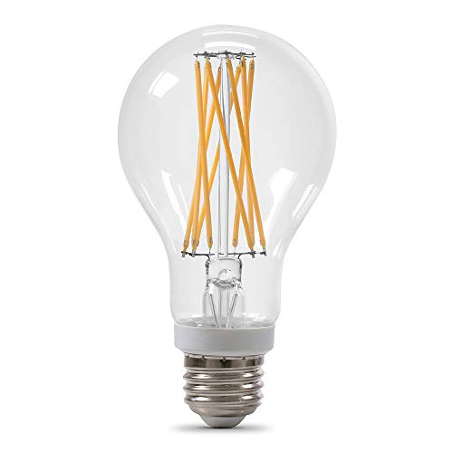 Feit Electric BPA19100CL927CAFI2RP 15W 100W Equivalent Clear Dimmable 1500 Lumen 2-Pack A21 LED Light Bulb, 4.5″H x 2.6″D, 2700K (Soft White), 2 Piece