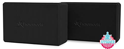 (Prosource Fit Foam Yoga Blocks Set of 2, High Density EVA Yoga Bricks, Sturdy Yoga Prop Large Size 4
