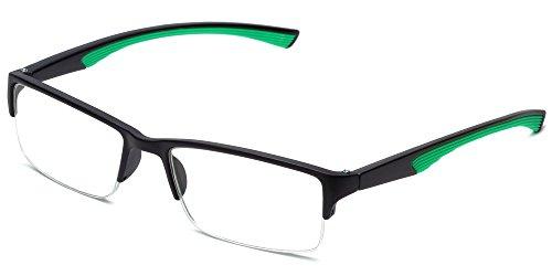 Calabria 6904 Semi-Rimless Flexie Reading Glasses in Green ; - Reading Glasses Sports