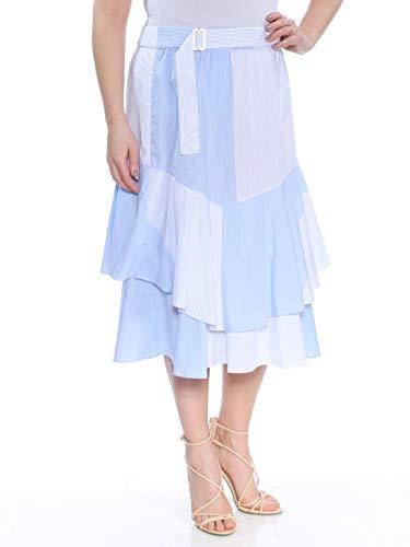DKNY Womens Cotton Ruffled Midi Skirt Blue L Dkny Jeans Womens Skirt