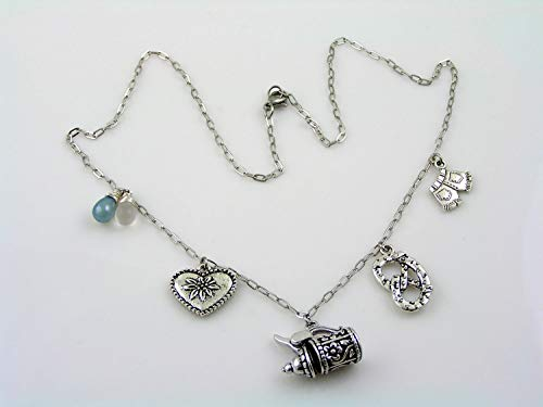 Bavaria, Germany Charm Necklace, Beer Stein, Pretzel, Lederhosen