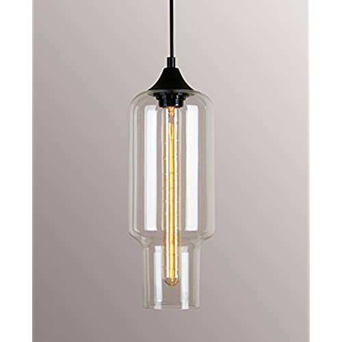 Rectangular pendant light amazon permo 1 light indoor clear glass milk bottle shade hanging pendant light fixture with vintage rustic bulbs aloadofball Gallery